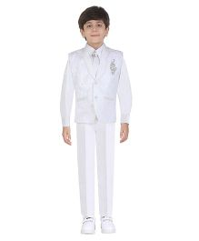 Jeet Ethnics Party Wear Waistcoat Set - White