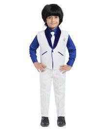 Jeet Ethnics Party Wear Waistcoat Set - White Blue