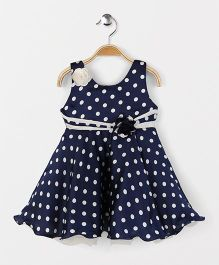 Babyhug Sleeveless Party Frock All Over Polka Dots - Blue