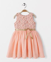 Babyhug Sleeveless Party Frock Self Embroidery - Peach