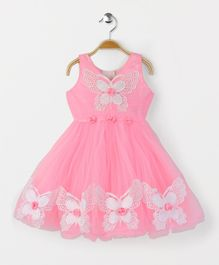 Babyhug Party Wear Sleeveless Frock Floral Appliques - Pink