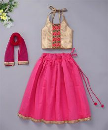 Bubblegum Pretty Chanderi Lehenga With Halter Neck Blouse & Dupatta - Pink