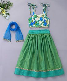 Bubblegum Lehenga With Floral Tie Up Top & Dupatta - Green & Blue