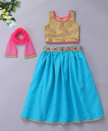 Bubblegum Lehenga With Raw Silk Choli & Net Dupatta - Blue & Gold