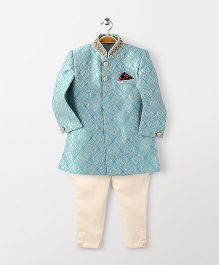 Robo Fry Full Sleeves Sherwani And Pajama Set - Blue
