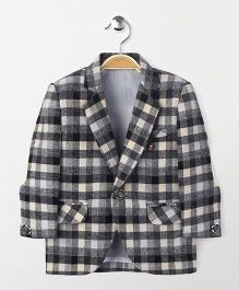 Robo Fry Full Sleeves Checks Print Blazer - Black