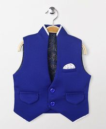 Robo Fry Sleeveless Party Wear Waistcoat - Royal Blue