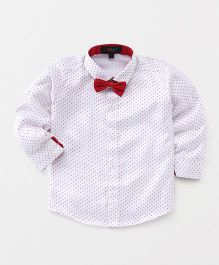 Robo Fry Full Sleeves Party Shirt Polka Dots Print - White & Red