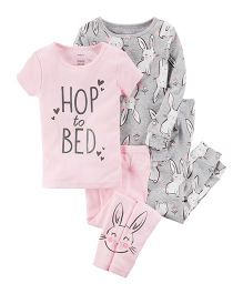 4-Piece Bunny Snug Fit Cotton Night Suit Pack of 2 - Grey Pink