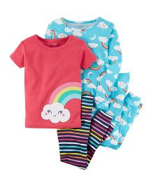 Carter's 4-Piece Rainbow Snug Fit Cotton Night Suit - Blue Red