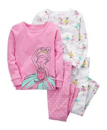 Carter's 4-Piece Ballerina Snug Fit Cotton Night Suit Pack of 2 - Pink White