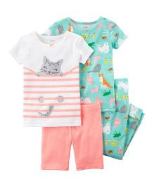 4-Piece Neon Snug Fit Cotton Night Suit Pack of 2 - Peach Green
