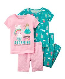 4-Piece Snug Fit Cotton Night Suit Pack of 2 - Pink Green