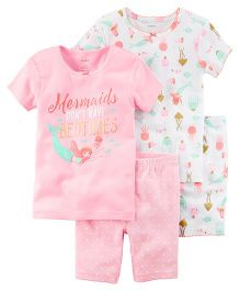 Carter's 4-Piece Mermaid Snug Fit Cotton Night Suit - Pink