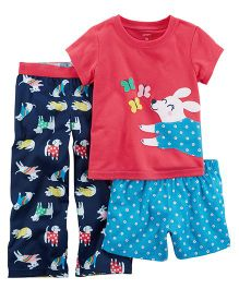 Carter's 3-Piece Bunny Jersey PJs - Red Blue