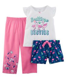 Carter's 3-Piece Neon Flamingo Jersey Night Suit - Pink White