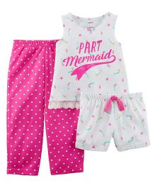Carter's 3-Piece Neon Mermaid Jersey Night Suit - Pink White