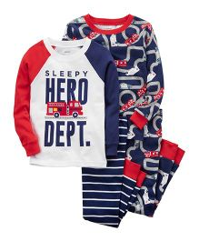 Carter's 4-Piece Hero Snug Fit Cotton Night Suit Set - Navy