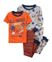 Carter's 4-Piece Sports Snug Fit Cotton Night Suit Set - Orange Grey