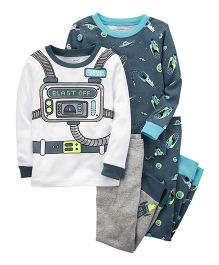 Carter's 4-Piece Neon Astronaut Snug Fit Cotton Night Suit Set - Blue White