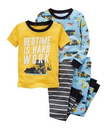 Carter's 4-Piece Construction Snug Fit Cotton Night Suit Set - Yellow Blue