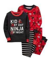 Carter's 4-Piece Ninja Snug Fit Cotton Night Suit Set - Red Black
