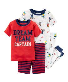 Carter's 4-Piece Snug Fit Cotton Night Suit - Red White