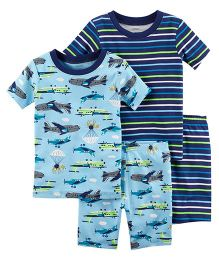 Carter's 4-Piece Neon Planes Snug Fit Cotton Night Suit - Blue
