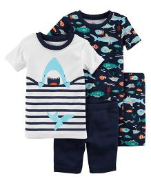 Carter's 4-Piece Neon Shark Snug Fit Cotton Night Suit - Navy