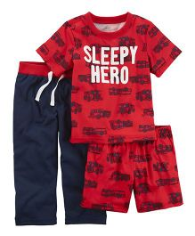 Carter's 3-Piece Sleepy Hero Jersey Night Suit Set - Red Navy