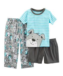 Carter's 3-Piece Dog Jersey PJs -  Sky Blue Grey