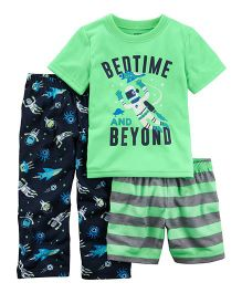 Carter's 3-Piece Glow-In-The-Dark Jersey PJs - Green Navy Blue