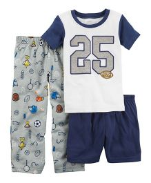 Carter's 3-Piece Football Jersey PJs - Grey White Navy Blue