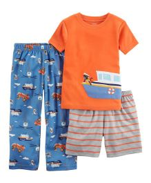 Carter's 3-Piece Boat Jersey Night Suit - Orange Blue