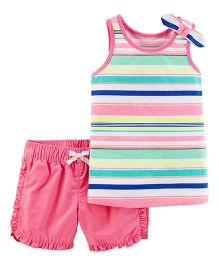 Carter's 2-Piece Striped Tank & Twill Short Set - Pink