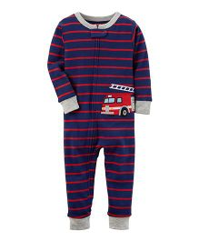 Carter's 1-Piece Firetruck Snug Fit Cotton Footless PJs - Navy Blue