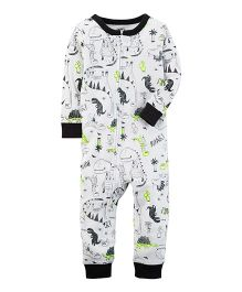 Carter's 1-Piece Neon Dinosaur Snug Fit Cotton Footless PJs - Grey & Green