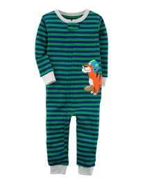 Carter's 1-Piece Snug Fit Cotton Footless PJs - Green Blue
