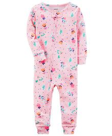 Carter's Neon Floral Snug Fit Cotton Footless PJs - Pink