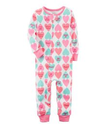 Carter's 1-Piece Neon Snug Fit Cotton Footless PJs - White Pink