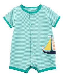Carter's Sailboat Snap Up Cotton Romper - Sea Green