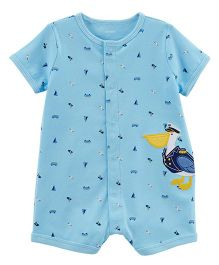 Carter's Pelican Snap-Up Cotton Romper - Sky Blue