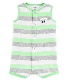Carter's Neon Shark Snap-Up Romper - Green Grey