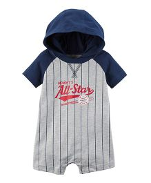 Carter's Baseball Romper - Navy Blue Grey