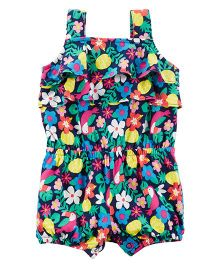 Carter's Sleeves Toucan Romper Floral Print - Multi Colour