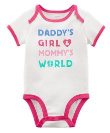 Carter's Daddy's Girl Mommy's World Collectible Bodysuit - Pink White