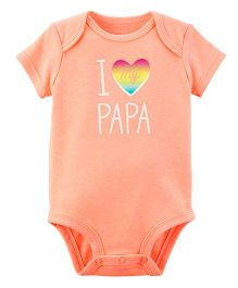 Carter's Short Sleeves  Neon I Love My Papa Print Bodysuit - Peach