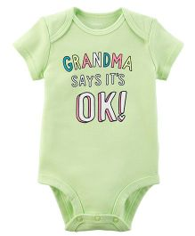 Carter's Short Sleeves Grandma Print Bodysuit - Green