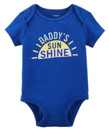 Carter's Short Sleeves Daddy's Sunshine Print Bodysuit - Royal Bl;ue