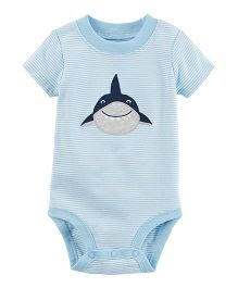 Carter's Short Sleeves Bodysuit Shark Embroidery - Blue